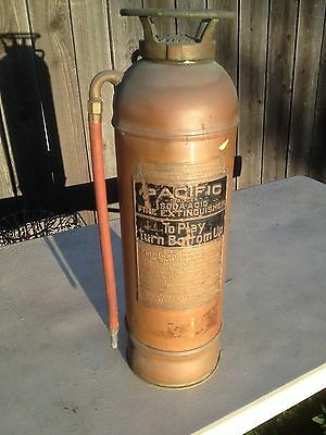 Antique Copper Fire Extinguisher Pacific Badger  2 1/2 Gal. Los Angeles