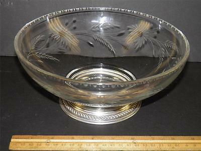 Vintage Large Cut Glass Floral Sterling silver Footed Bowl Center Piece