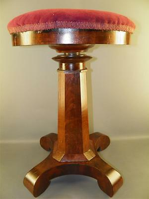 ANTIQUE EMPIRE FLAME MAHOGANY PIANO MUSIC STOOL BENCH ADJUSTABLE HEIGHT 1800s
