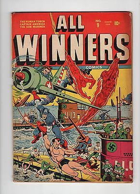 All Winners #9, VG+, no centerfold, Great Nazi Schomburg Cover, 1942