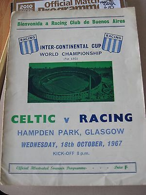 18.10.1967 Celtic v Racing Club Inter-Continental cup World championship 1st Leg