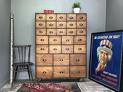 Stunning Haberdashery Pigeon Hole Drawers - Vintage Antique Industrail Chest of