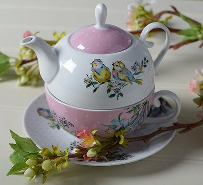 Katie Alice BIRD SONG TEA FOR ONE Saucer + Teapot + Cup Set PINK White FLOWERS