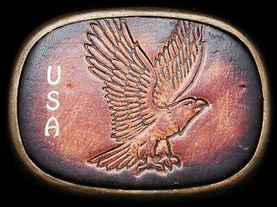 IH17134 GREAT VINTAGE 1970s USA/BALD EAGLE LEATHER/BRASS BUCKLE