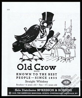 1935 Old Crow Bourbon Whiskey black bird with monocle art vintage print ad