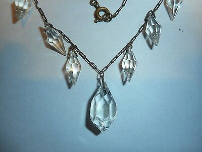 Antique Victorian Hanging Crystal Necklace 100 Years Old Vintage