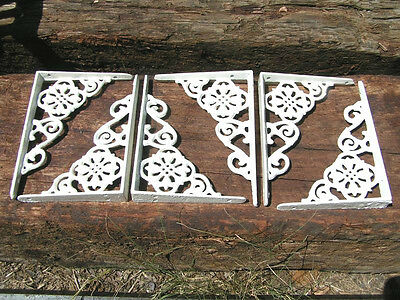 6 Small White Cast Iron Wall Brackets