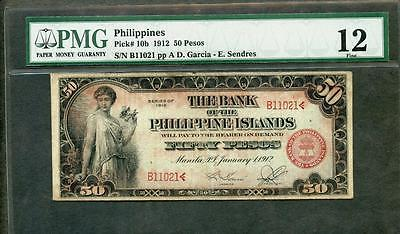 1912 PHILIPPINES 50 PESOS PCK #10b PMG 12  RARER NOTE  PLEASE LQQK!!!*