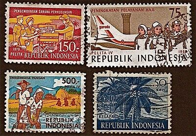 INDONESIA, 4 1960-86 Ag & Development Stamps (31-57 YrsOld)Used See Descr FUS193