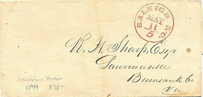 "1849 Raleigh, NC ""5"" Cancel on a Stampless Cover w Mutual Insurance Co. Brochure"