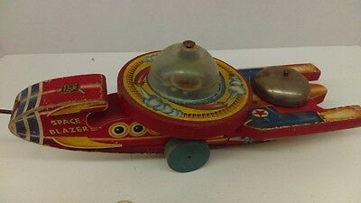 "1953 Fisher Price No. 750 Space Blazer Wood Pull Toy Martian In Spaceship 14""L"