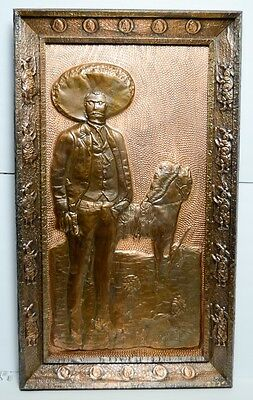 "Large Embossed Copper Repujado Mexico Zapata Folk Art Signed Antique Vtg 20""x35"""