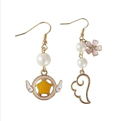 Anime Card Captor Sakura Sakura Kinomoto Clow Key Wing Earrings Cosplay Jewelry