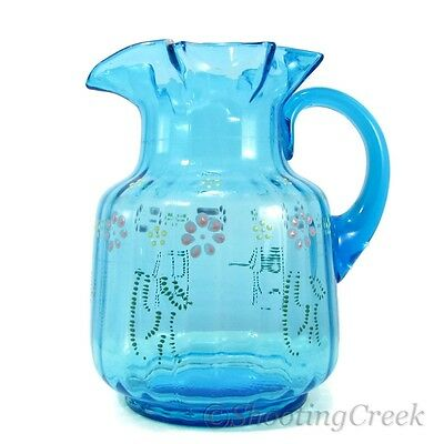 Antique Victorian Enameled Blue Glass Pitcher Water Floral Hand Painted Ruffled