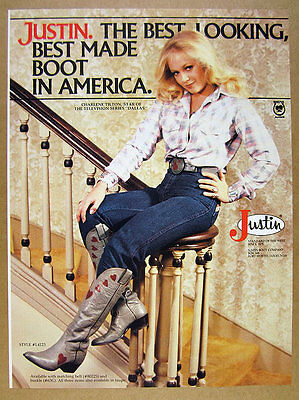 1980 charlene tilton photo Justin Boots Dallas Collection vintage print Ad