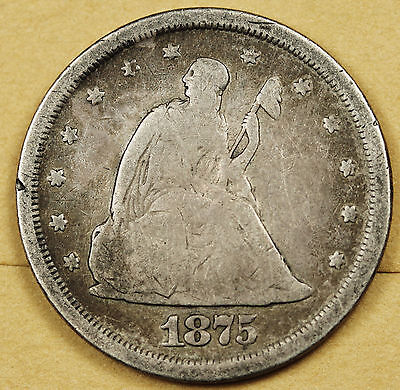 1875-s Twenty Cent Piece.  V.G.  93568
