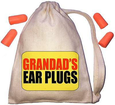 Grandad's - Yellow Design TINY Ear Plugs Storage Bag & 4 Ear Plugs DIY / Snoring