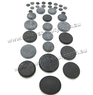 34Pc(18+16) Hot Stones Natural Basalt Stone For Spa Hot Massage Treatment