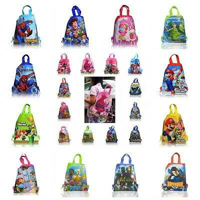 1PCS My Little Pony Trolls Moana Kids Drawstring Backpack Party School Bags Gift