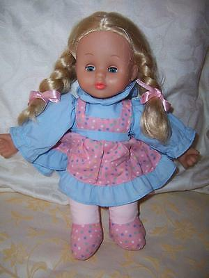 Vinyl Soft Body Doll Ks Simba Open Shut Eyes Rooted Blond Hair Original Outfit