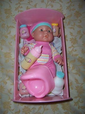 Vinyl Small Baby Doll In Pink Plastic Cradle Mamma Dadda Talking Lot Doll Items