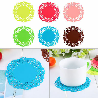 Hot 3X Silicone Hollow Flower Coaster Cup Tea Pad Cushion Table ware Placemat H