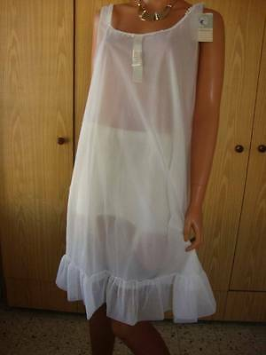 Rare Vtg Charles Ingram White Double Layered Silky Nylon Nightgown L-XL BNWT