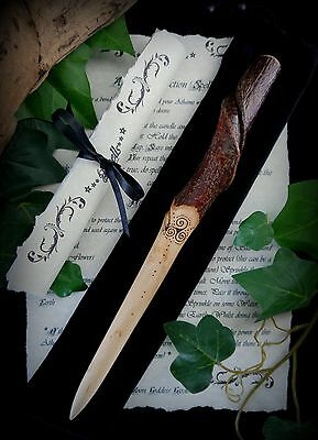 Witches Silver Birch Wood Athame with Triple Spiral Natural Spiral Wicca Pagan
