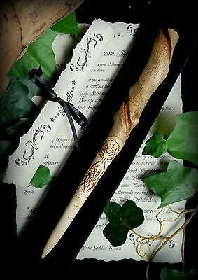 Witches Ash Wood Athame with Tree of Life design Natural Spiral Wicca Pagan