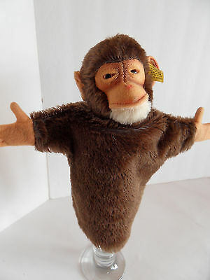 Steiff monkey chimpanzee hand puppet mohair button made in Germany 2058