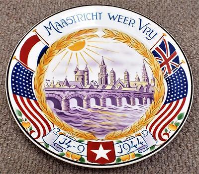 WW2 Maastricht Weer Vry Liberation of Holland Commemorative Plate - Allied Flags
