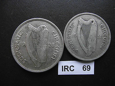 Ireland. Irish Free State.2 Silver Coins:half Crown (1928) & Florin (1935)#irc69
