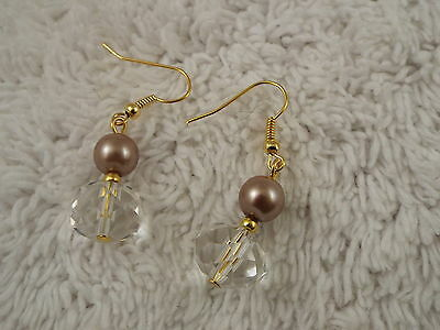 Clear Faceted Crystal Taupe Glass Pearl Bead Goldtone Pierced Earrings (C67)