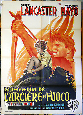 manifesto 2F film THE FLAME AND THE ARROW -LEGG. ARCIERE DI FUOCO Burt Lancaster