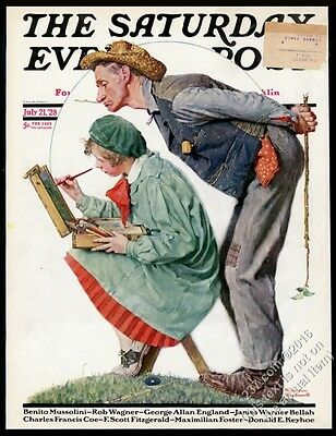 Norman Rockwell girl artist classic Saturday Evening Post cover July 21 1928
