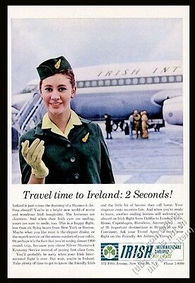 1963 Aer Lingus stewardess photo and plane vintage print ad