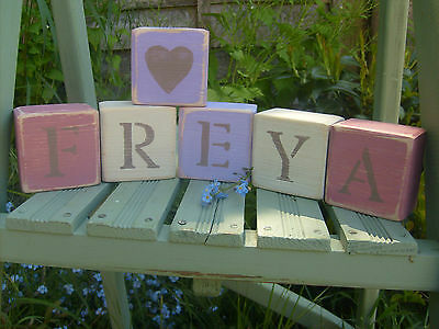 Shabby Chic / Rustic PERSONALISED Handmade Wooden Name / Word / Letter Blocks