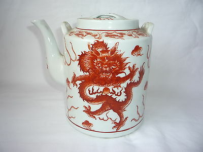 Chinese Painted Dragon Porcelain Teapot with Lid