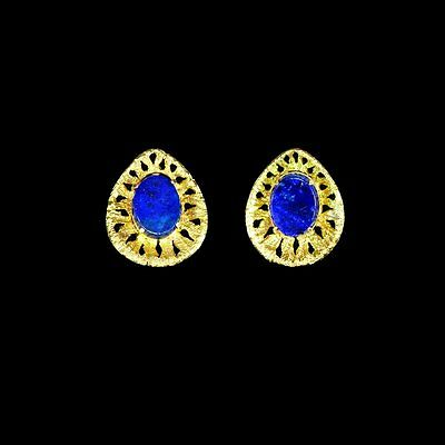 14k yellow gold estate earrings, natural untreated lapis lazuli - see set M-F