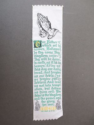 BOOKMARK Vintage Woven Ribbon Religious The Lord's Prayer Our Father Green Text