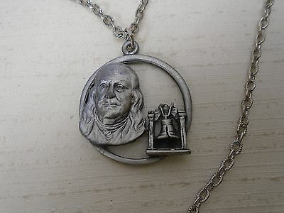 Vintage Benjamin Franklin & Liberty Bell Pendant Necklace American Independence