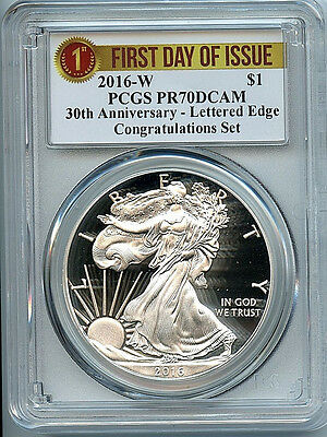 2016 W  Proof Silver Eagle Dollar PCGS PR70 Congradulations Set 1st Day 30th C14