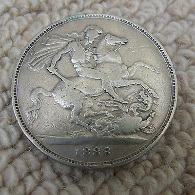 1888 UK Queen Victoria Sterling Silver Crown Coin