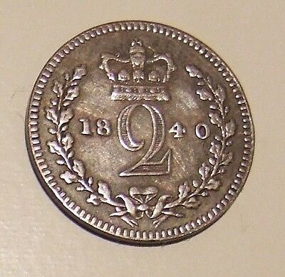 Queen Victoria 1840 Maundy Twopence (Two Pence) Coin - Very Fine