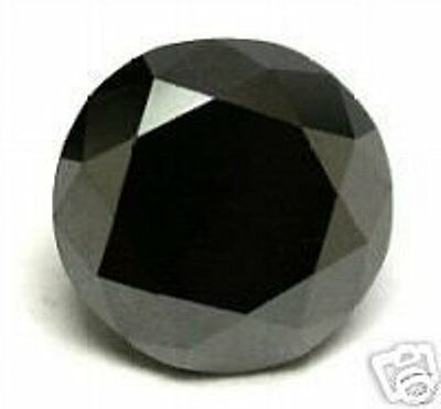 Diamant Noir 1,192 Cts Black Natural Loose Round Diamond 6,39 Mm
