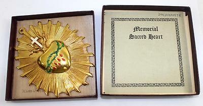 Rare NOS c.1920 Memorial Sacred Heart Coffin Casket Plaque from Funeral Museum