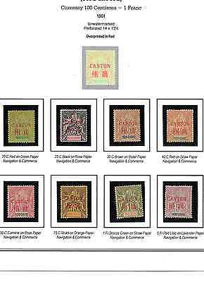 1901 French Offices in China - Canton, Scott 1-14 1c-5fr Full Set Mint Hinged *