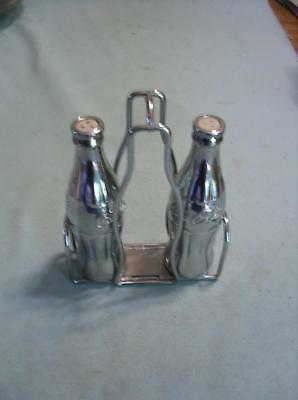 1998 Coca Cola Collectible Heavy Chrome Metal Salt & Pepper Set With Carrier
