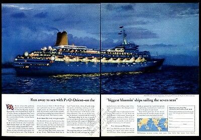 1965 SS Canberra cruise ship photo P&O Orient Lines travel vintage print ad