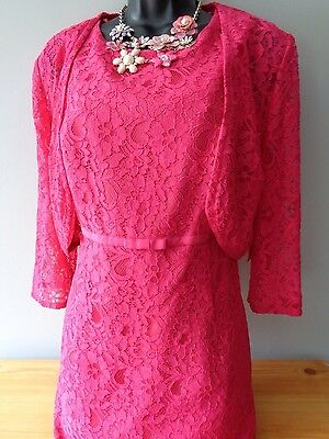 BERKERTEX cerise pink lace wiggle dress & bolero BNWT size 16 wedding formal